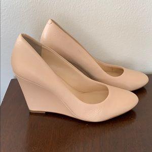 Beautiful blush leather wedge heels